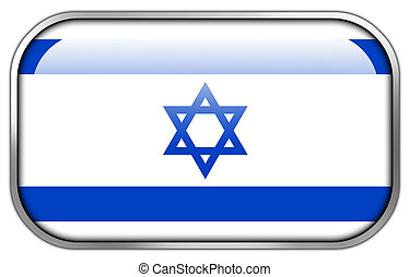 Israel Flag rectangle glossy button