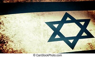 Israel Flag Waving, grunge look