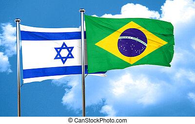 Israel flag with Brazil flag, 3D rendering