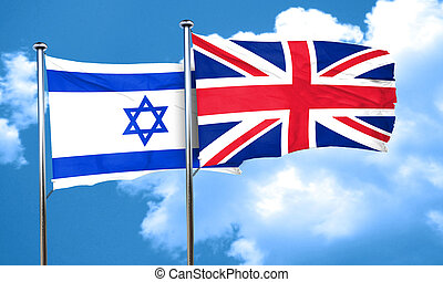 Israel flag with Great Britain flag, 3D rendering