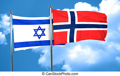 Israel flag with Norway flag, 3D rendering