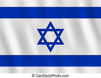 Israel flag with waving effect, official proportion.