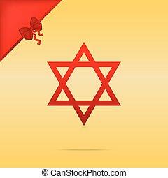 israel., goud, magen, symbool, star., cristmas, david, achtergrond., ontwerp, pictogram, rood, schild