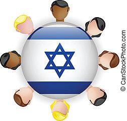 israel, grupo, gente, botón, bandera, trabajo en equipo