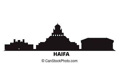 Israel, Haifa city skyline isolated vector illustration. Israel, Haifa travel cityscape with landmarks