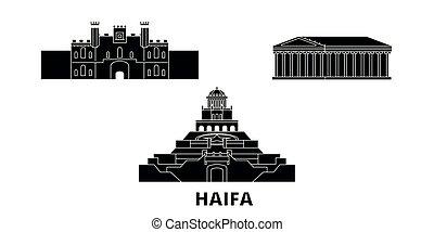 Israel, Haifa flat travel skyline set. Israel, Haifa black city vector panorama, illustration, travel sights, landmarks, streets.
