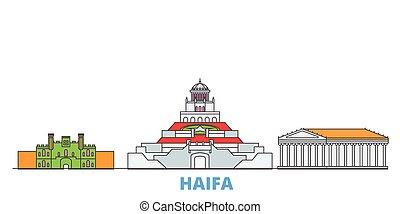Israel, Haifa cityscape line vector. Travel flat city landmark, oultine illustration, line world icons