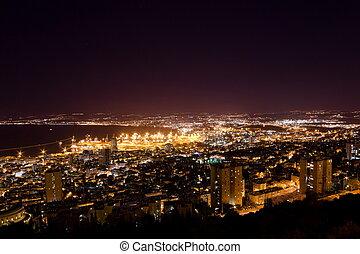 israel, haifa, monte, iluminación, noche, puerto, carmel, ...