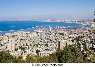 israel, haifa, monte, puerto, carmel, vista