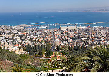 Israel, Haifa - city of Haifa with the harbor at the back,...