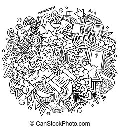 Israel hand drawn cartoon doodles illustration. Funny travel design.