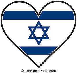 An Israeli flag shaped like a heart