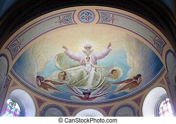 israel., heilig, samengesteld, jeruzalem, interieur, kerk, ...