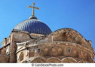 israel, heilig, sepulchre, kuppel, jerusalem, kirche