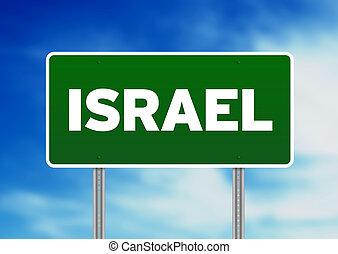 Israel Highway Sign - Green Israel highway sign on Cloud...