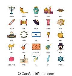 Israel icon set, cartoon style