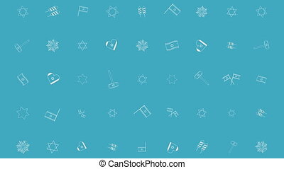 Israel Independence Day holiday flat design animation background with traditional outline icon symbols