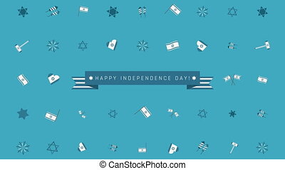 Israel Independence Day holiday flat design animation...