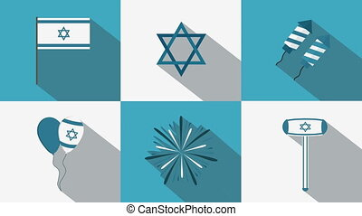 Israel Independence Day holiday flat design animation icon set with traditional symbols
