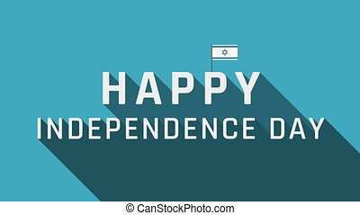 Israel Independence Day holiday greeting animation with Israel flag icon and english text