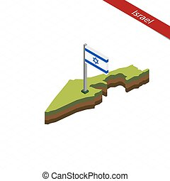 Israel Isometric map and flag. Vector Illustration. -...