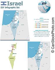 israel, karten, mit, markierungen