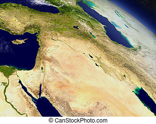 Israel, Lebanon, Jordan, Syria and Iraq region from space -...