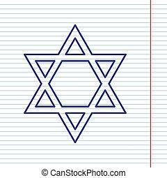israel., magen, シンボル, star., ノート, david, ペーパー, field., 赤い背景, 海軍, 線, アイコン, vector., 保護