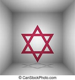 israel., magen, room., symbol, star., david, bordo, schatten, ikone, schutzschirm