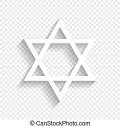 israel., magen, símbolo, star., david, fondo., vector., blanco, icono, suave, sombra, transparente, protector
