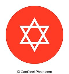 israel., magen, symbool, star., david, witte , pictogram, circle., rood, schild