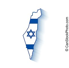 Israel map with Israeli flag inside of shape with long...