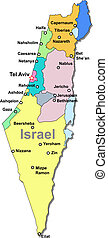Israel map - Color Israel vector map with regions over white