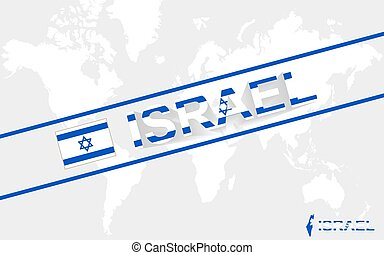 Israel map flag and text illustration