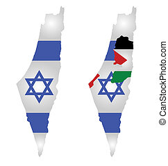 Israel Map Flag - Flag of Israel overlaid on map with second...