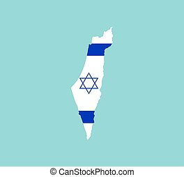 Israel map, flag. Vector illustration, flat design.