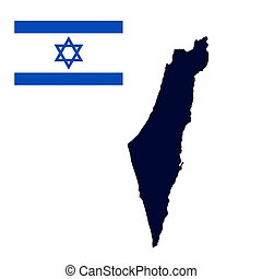 Israel map painted in the color of the flag