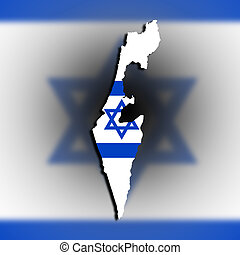 Israel map with the flag inside