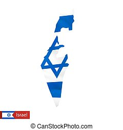 Israel map with waving flag of country.