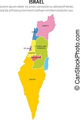 Israel multicolored map with regions. Vector illustration