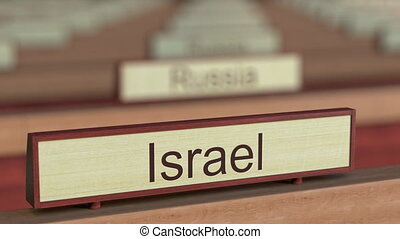 Israel name sign among different countries plaques at...