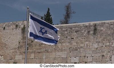 Israel national flag fly in Western Wall Jerusalem - Israel...