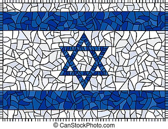 STATE OF ISRAEL National Flag created as window-pane; original size ratio - 8:11