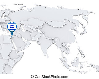 Five hearts with national flag of israel on a world map background israel on a map of asia highlighted gumiabroncs Images