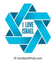 Israel or Judaism logo with Magen David sign. David star, ...