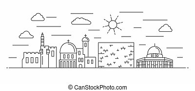 Israel panorama. Israel vector illustration in outline style with buildings and city architecture. Welcome to Israel.