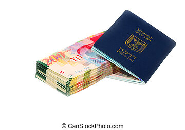 Israel Passport With Shekel Bills On White Background