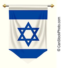 Israel Pennant - Israel flag or pennant isolated on white