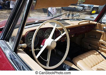 israel, petah, tiqwa, -, maj, 14, 2016:, ., styre hjul, og, instrumentbræt, ind, interior, i, gamle, retro, automobil, ind, petah, tiqwa, israel