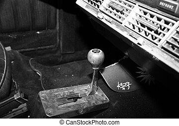 israel, petah, tiqwa, -, maj, 14, 2016:, udstilling, i, tekniske, antiques., instrumentbræt, ind, interior, i, gamle, retro, automobil, ind, petah, tiqwa, israel